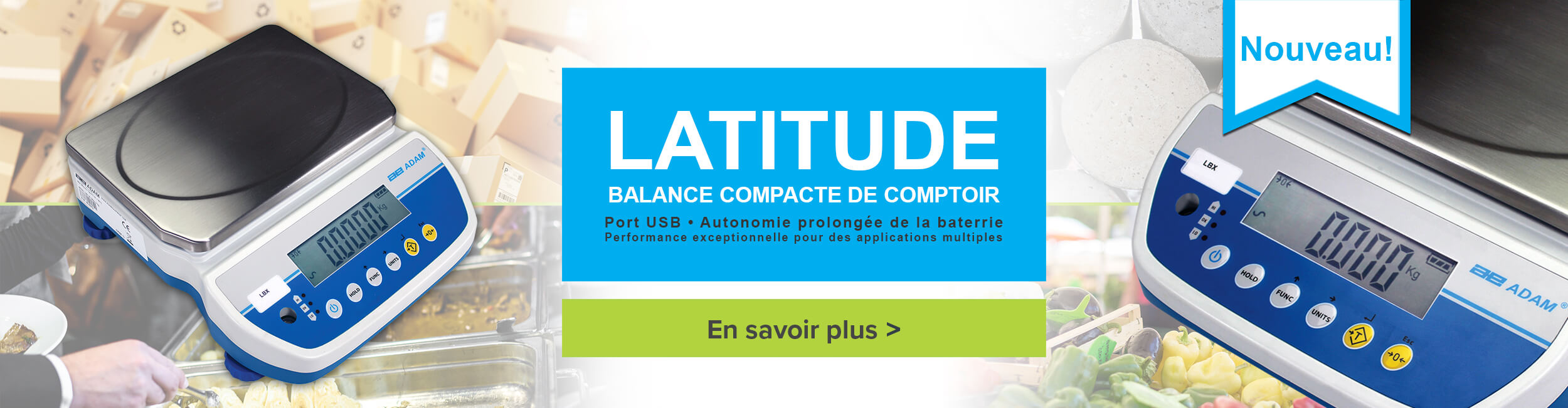 Latitude Balance compacte de comptoir. Port USB - Autonomie prolongée de la baterrie - Performance exceptionnelle pour des applications multiples.